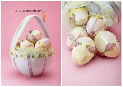 تزیین تخم مرغ,تزیین تخم مرغ سفره هفت سین,مدل های تزیین تخم مرغ سفره هفت سین,تزیین تخم مرغ هفت سین برای نوروز با گل های پارچه ای