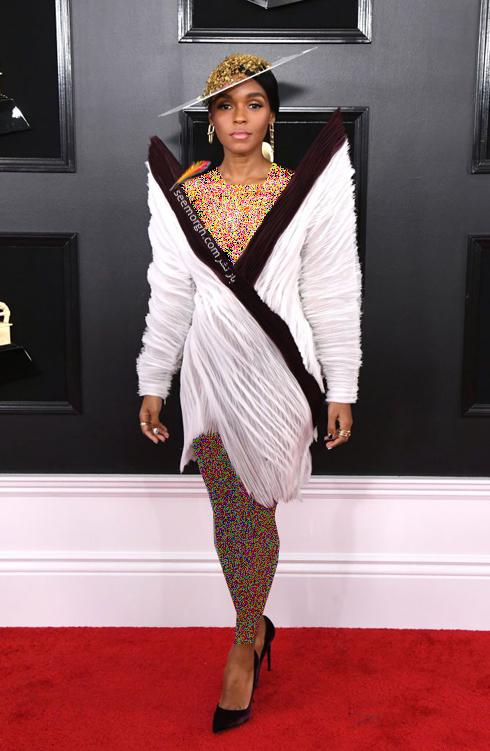 مدل لباس,جايزه گرمي,مدل لباس در جايزه گرمي,عجيب ترين لباس ها در جايزه گرمي,مدل لباس جانل مونايي Janelle Monae در جايزه گرمي 2019 Grammy Awards