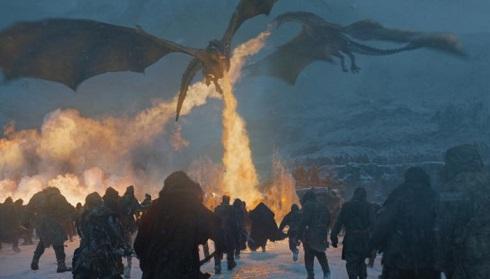 نبرد بزرگ بين اژدهاهاي زنده دينريس و اژدهاي مرده پادشاه شب