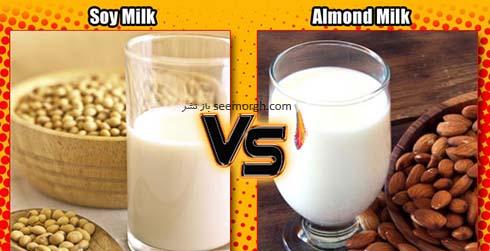 مقایسه شیر سویا و شیر بادام