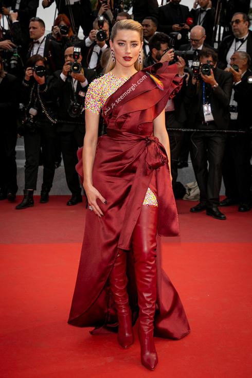 مدل لباس در جشنواره کن,مدل لباس آمبر هرد Amber Herd در جشنواره کن 2019 - 17 می