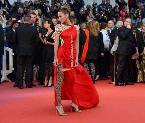 مدل لباس در جشنواره کن,مدل لباس بلا حدید Bella Hadid در جشنواره کن 2019 - 17 می
