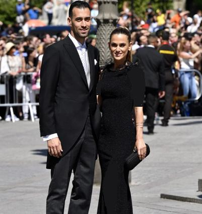 سرخیو بوسکتس و همسرش در مراسم ازدواج راموس
