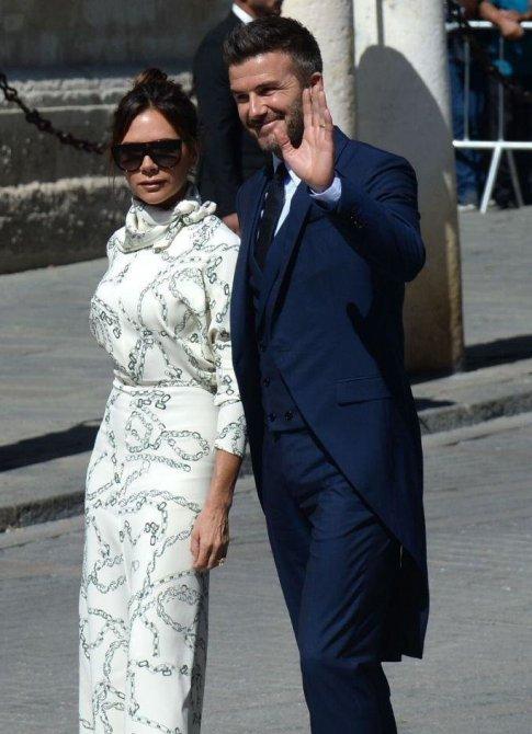 دیوید بکام و همسرش را در مراسم ازدواج سرخیو راموس