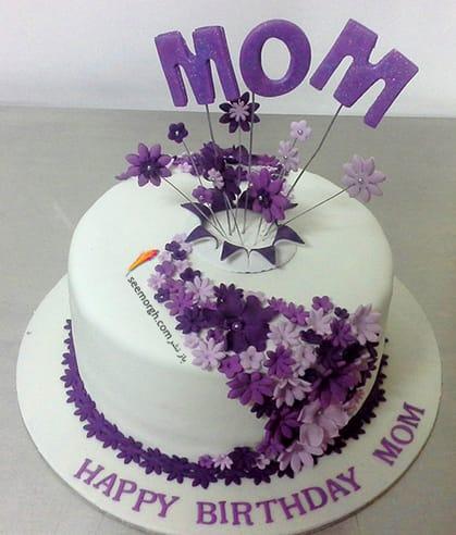 کیک,کیک تولد,کیک تولد برای مادر,کیک تولد مادر,کیک تولد با تزیین گل های بنفش برای مادرتان
