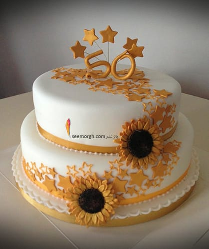 کیک,کیک تولد,کیک تولد برای مادر,کیک تولد مادر,کیک  تولد با تزیین گل های طلایی برای مادرتان