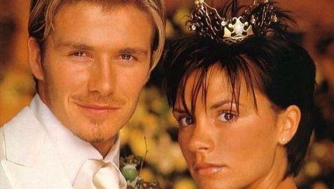 دیوید بکام و ویکتوریا بکام در روز ازدواج شان