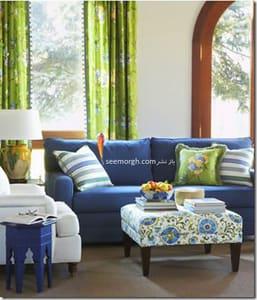 با فرش سورمه ای و مبلمان آبی درباری چه رنگ پرده ای ست کنیم؟,ست کردن دکوری پرده با فرش سورمه ای و مبلمان آبی درباری