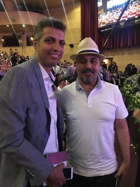 فردوسی پور در کنار رضا عطاران در جشن حافظ