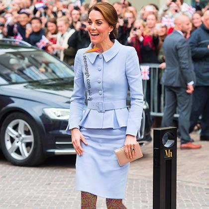 کت و دامن آبی روشن به سبک کیت میدلتون Kate Middleton,کت و دامن,کیت میدلتون,مدل کت و دامن,کت و دامن کیت میدلتون,مدل کت و دامن به سبک کیت میدلتون