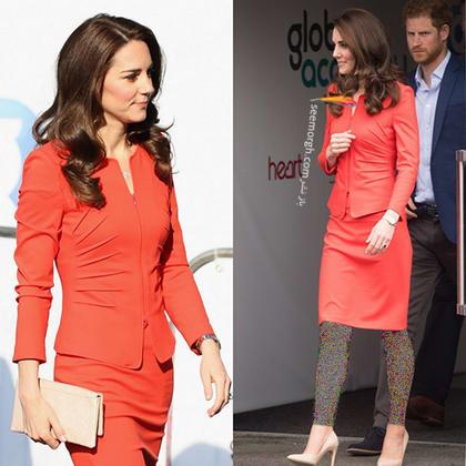 کت و دامن قرمز روشن به سبک کیت میدلتون Kate Middleton,کت و دامن,کیت میدلتون,مدل کت و دامن,کت و دامن کیت میدلتون,مدل کت و دامن به سبک کیت میدلتون