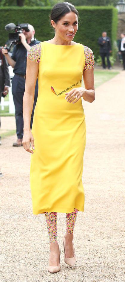 13 مدل لباس برتر مگان مارکل بعد از ازدواج با پرنس هری,پیراهن زرد مگان مارکل Meghan Markle