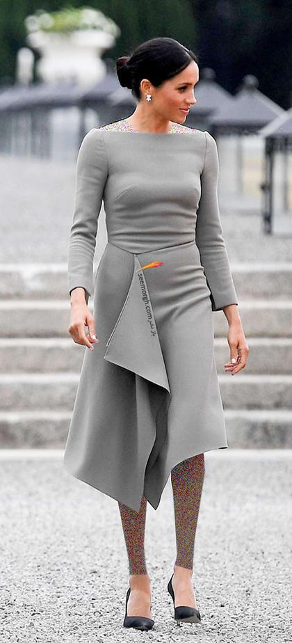 13 مدل لباس برتر مگان مارکل بعد از ازدواج با پرنس هری,لباس طوسی مگان مارکل Meghan Markle