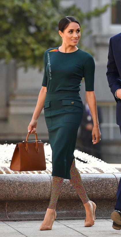 13 مدل لباس برتر مگان مارکل بعد از ازدواج با پرنس هری,بلوز و دامن سبز تیره از برند ژیوانشی Givenchy