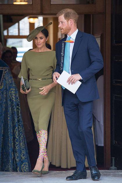 13 مدل لباس برتر مگان مارکل بعد از ازدواج با پرنس هری,لباس زیتونی مگان مارکل Meghan Markle از برند رالف لورن