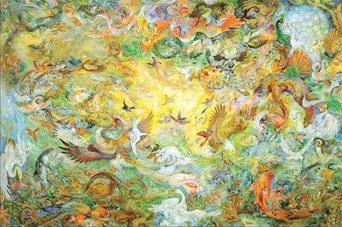 استاد محمود فرشچیان,تابلوهای فرشچیان,نگارگری,پنجمین روز آفرینش