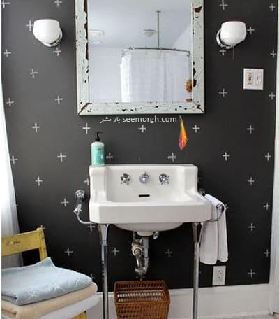 از رنگ سیاه می توانید به عنوان افکتی برای سرویس بهداشتی تان استفاده کنید,پنهان کردن نواقص و ایرادهای دیوار با 12 پیشنهاد ارزان قیمت!
