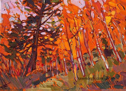 نقاشی رنگ روغن مدرن از مناظر طبیعت