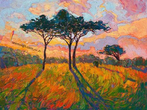 نقاشی های جذاب رنگ روغن از مناظر طبیعت