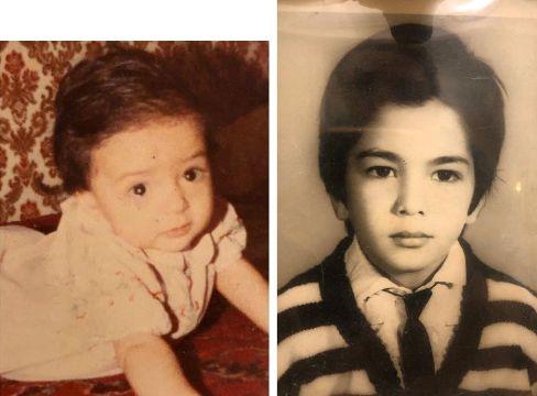 عکس کودکی نرگس محمدی و همسرش علی اوجی