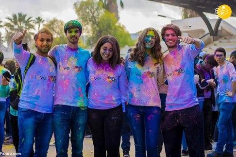جشن رنگی دختران و پسران جوان در سوریه