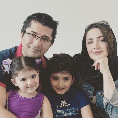 شیلا خداداد در کنار همسر و فرزندانش