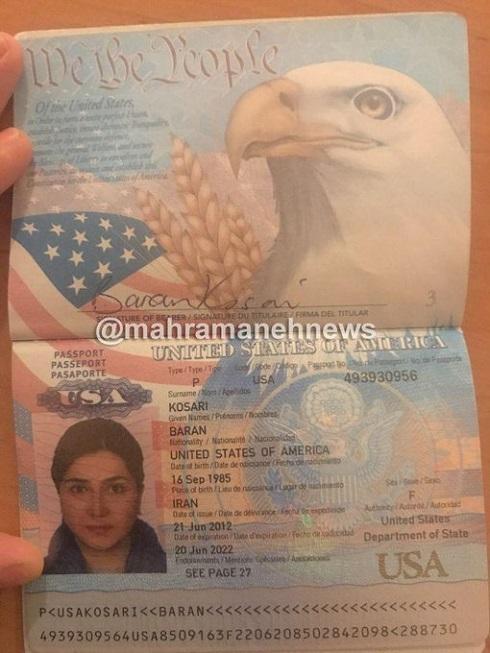 پاسپورت امریکایی باران کوثری