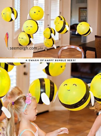تم زرد و مشکی تولد با فرم زنبور مناسب برای دختر و پسر,جدیدترین تم های تولد و بادکنک آرایی