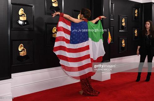 مگان پرمر,نگین پرمهر,مدلینگ ایرانی,بازیگر ایرانی در گرمی 2020,لباس با پرچم ایران و امریکا,دختری با پرچم ایران در گرمی 2020,بیوگرافی مگان پرمر
