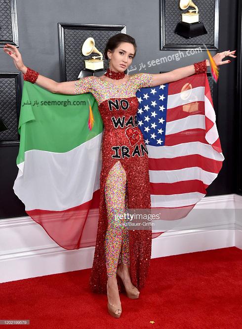 مگان پرمر,نگین پرمهر,مدلینگ ایرانی,بازیگر ایرانی در گرمی 2020,لباس با پرچم ایران و امریکا,دختری با پرچم ایران در گرمی 2020