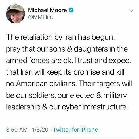 پیام مایکل مور Michael Moor پس از انتقام سخت