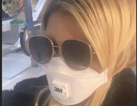 واندا نارا با ماسک ضدآلودگی