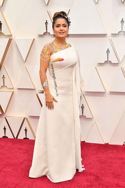 بدترین مدل لباس در مراسم اسکار 2020 Oscar سلما هایک Salma Hayek,بدترین مدل لباس,بدترین مدل لباس در اسکار 2020,مدل لباس در اسکار 2020