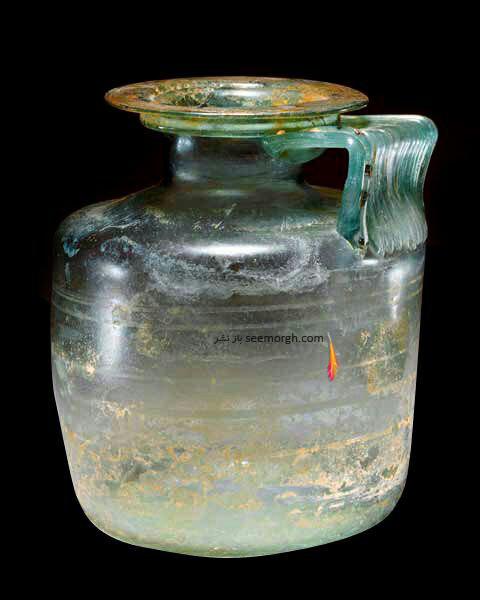 بطری شیشه ای رومی قرن یک الی سه میلادی