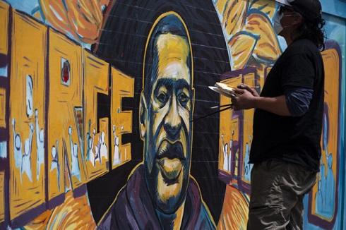 نقاشی های اعتراضی برای جرج فلوید، قربانی نژادپرستی در آمریکا + تصاویر