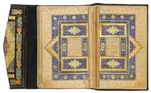 """کتاب خطی """"تحفهالاحرار"""" جامی قرن 16 م با امضا سلطان محمد نور"""