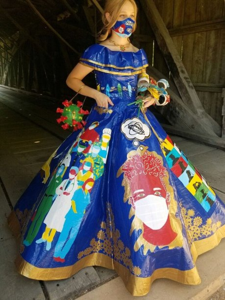 لباس خلاقانه دختر آمریکایی با مضمون کرونا