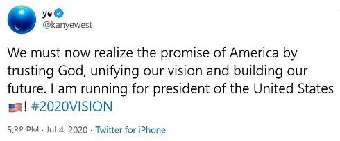 کانیه وست نامزد انتخابات ریاست جمهوری 2020 آمریکا
