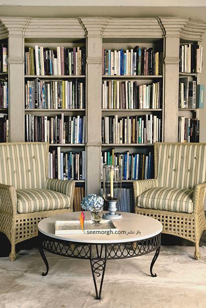 کتابخانه خانگی به رنگ طوسی روشن ,مدل کتابخانه خانگی دیواری، ایده هایی نو، جذاب، گرم و دلنشین