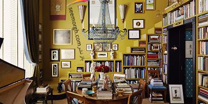 کتابخانه خانگی دقیقا همرنگ دیوار اتاق نشیمن,مدل کتابخانه خانگی دیواری، ایده هایی نو، جذاب، گرم و دلنشین
