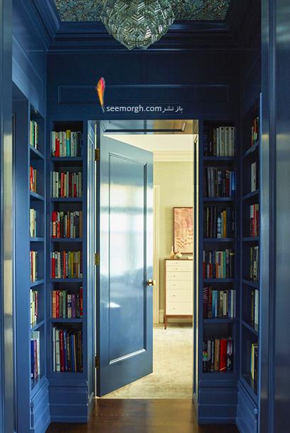 کتابخانه خانگی دیواری در راهرو,مدل کتابخانه خانگی دیواری