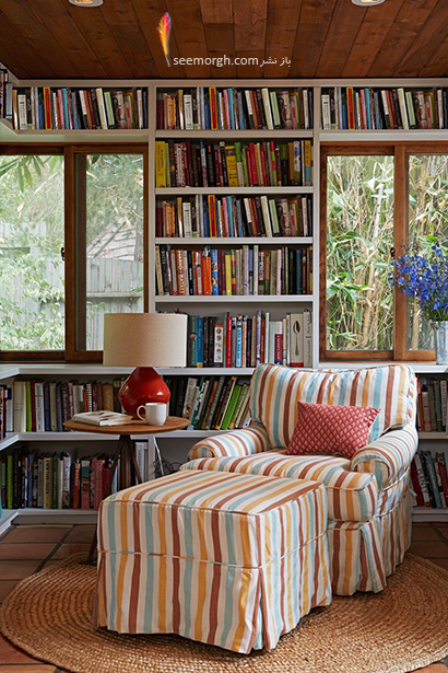 کتابخانه خانگی در اتاق خواب,مدل کتابخانه خانگی دیواری، ایده هایی نو، جذاب، گرم و دلنشین