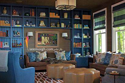 کتابخانه خانگی به رنگ آبی  نیلگون با مبلمان آبی به همان رنگ,مدل کتابخانه خانگی دیواری، ایده هایی نو، جذاب، گرم و دلنشین