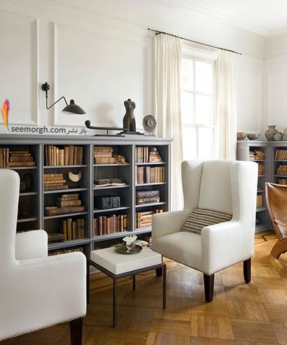 کتابخانه خانگی به رنگ سفید با مبلمان سفید,مدل کتابخانه خانگی دیواری، ایده هایی نو، جذاب، گرم و دلنشین