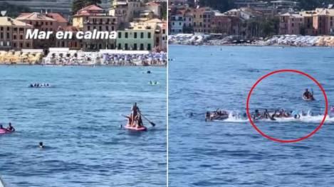 شنا کردن به سمت قایق رونالدو و جورجینا