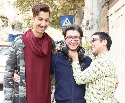 محمد رضا فروتن و بهرام افشاری در پشت صحنه آقای سانسور