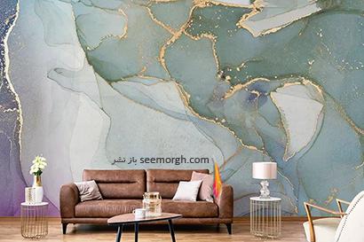 کاغذ دیواری طرح سنگ با ترکیب رنگ طلایی مات، سبز آبی,کاغذ دیواری طرح سنگ، جدیدترین مدل کاغذ دیواری در دکوراسیون