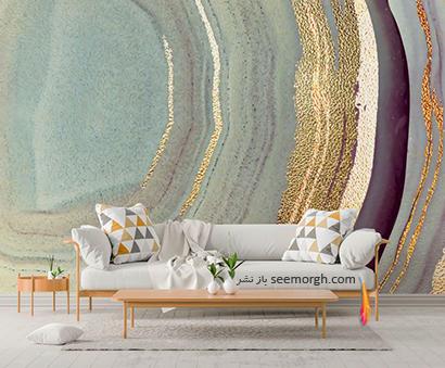 کاغذ دیواری طرح سنگ با ترکیب رنگ طلایی و سبز,کاغذ دیواری طرح سنگ، جدیدترین مدل کاغذ دیواری در دکوراسیون