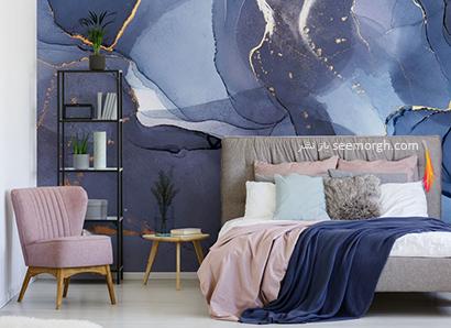 کاغذ دیواری طرح سنگ با ترکیب رنگ طلایی و آبی تیره,کاغذ دیواری طرح سنگ، جدیدترین مدل کاغذ دیواری در دکوراسیون