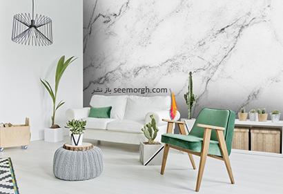 کاغذ دیواری طرح سنگ با ترکیب رنگ طوسی و سفید,کاغذ دیواری طرح سنگ، جدیدترین مدل کاغذ دیواری در دکوراسیون